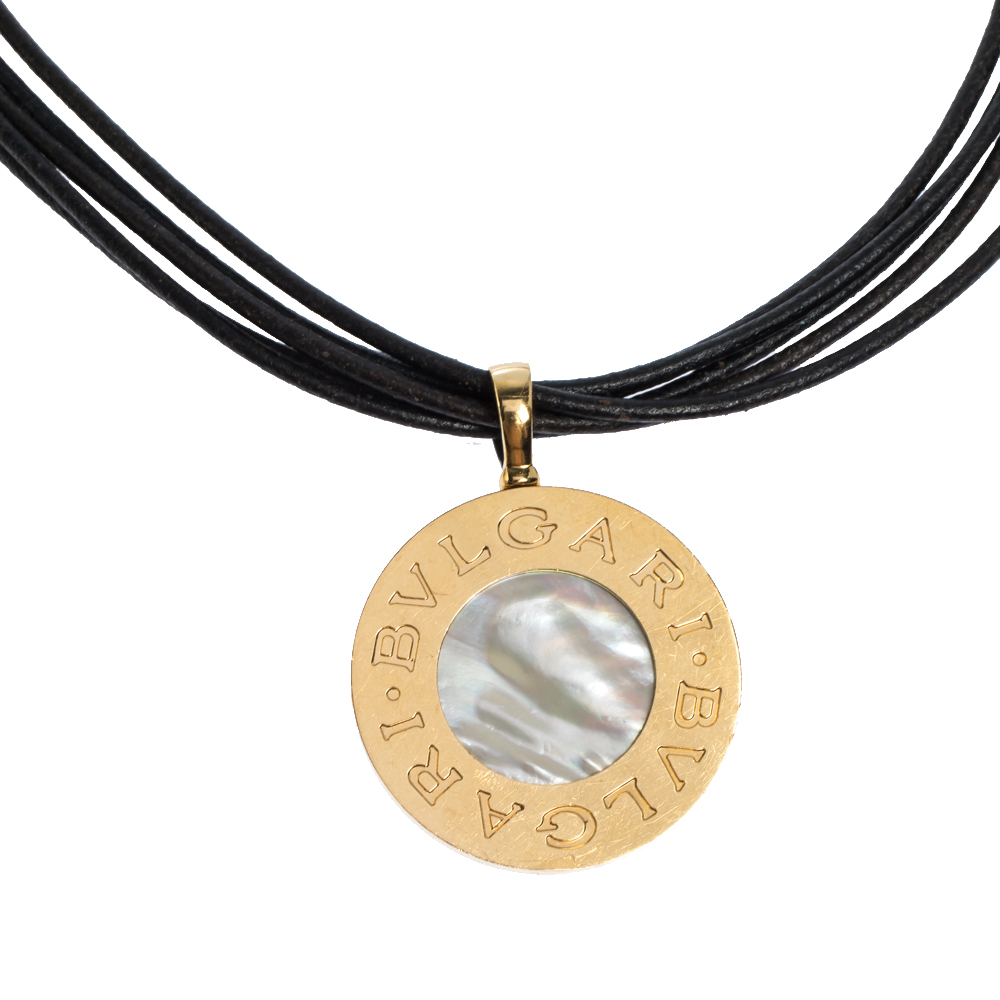 Bvlgari 18K Yellow Gold Steel MOP Onyx Pendant Leather Cord Necklace