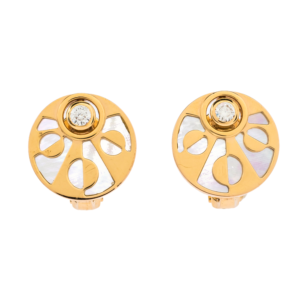 Bvlgari Intarsio Diamond Mother Of Pearl 18K Rose Gold Earrings