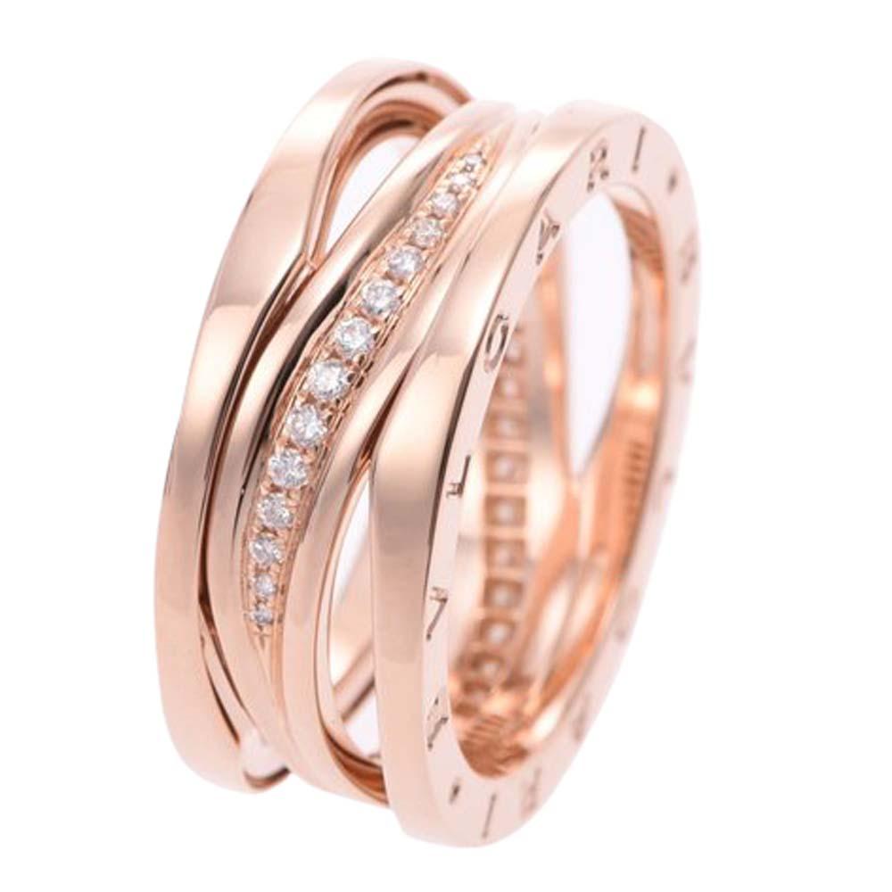 Bvlgari B.Zero1 Legend 18K Rose Gold Diamonds Ring Size 60