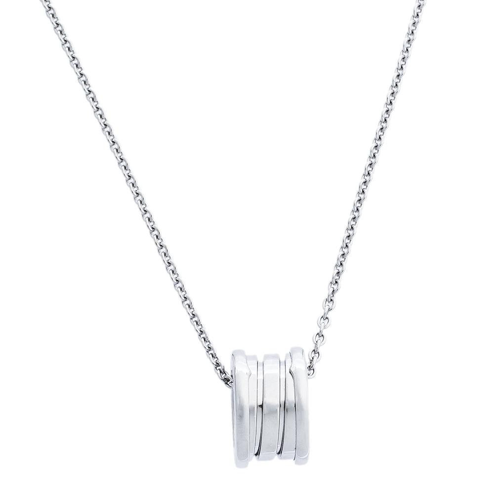 Bvlgari B.Zero1 18K White Gold Small Round Pendant Necklace