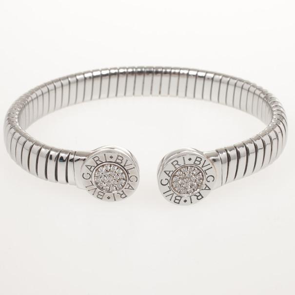 Bvlgari Tubogas Steel & Diamond Pave Bracelet