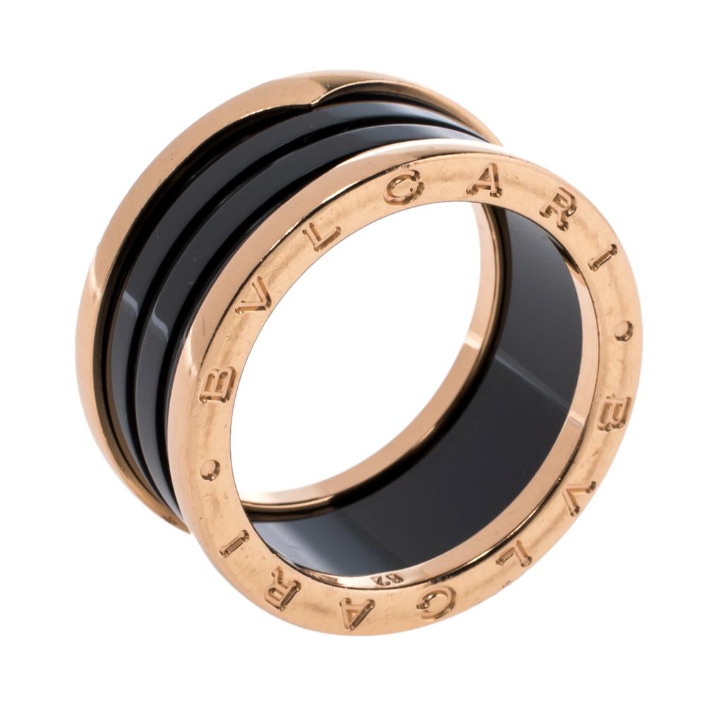 Bvlgari B.Zero1 4-Band Black Ceramic 18K Rose Gold Band Ring Size 62