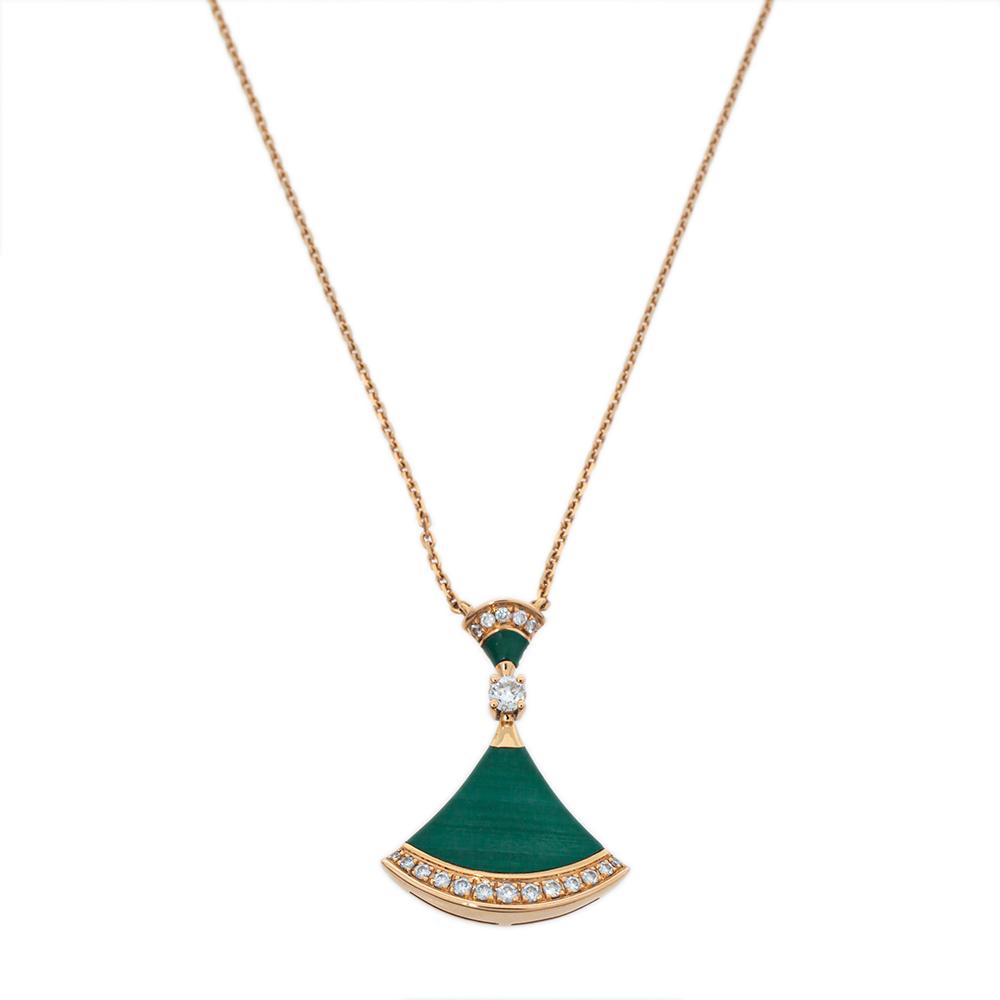 Bvlgari Divas' Dream Malachite & Diamond 18K Rose Gold Pendant Necklace