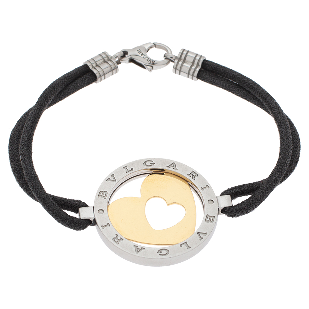 Bvlgari Tondo Heart 18K Yellow Gold & Stainless Steel Cord Bracelet
