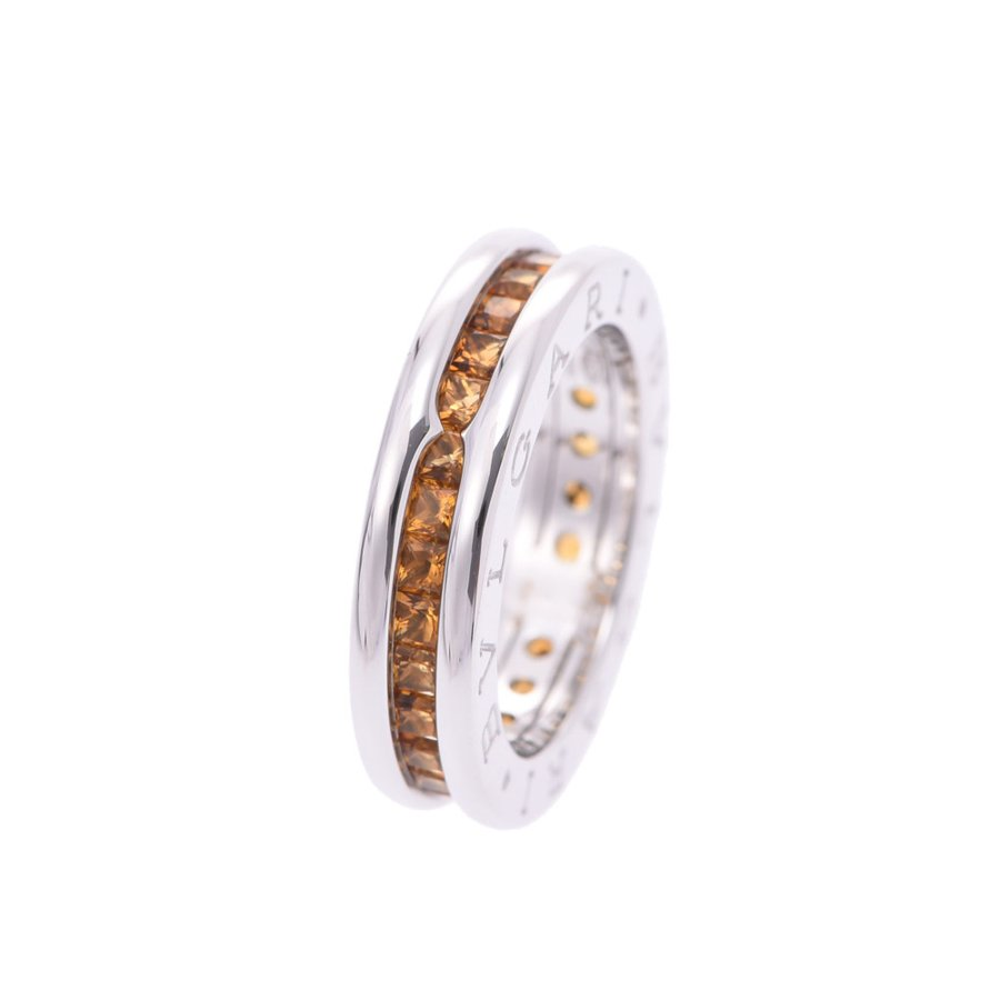 Pre-owned Bvlgari B.zero1 Citrine 18k White Gold Ring Size 48