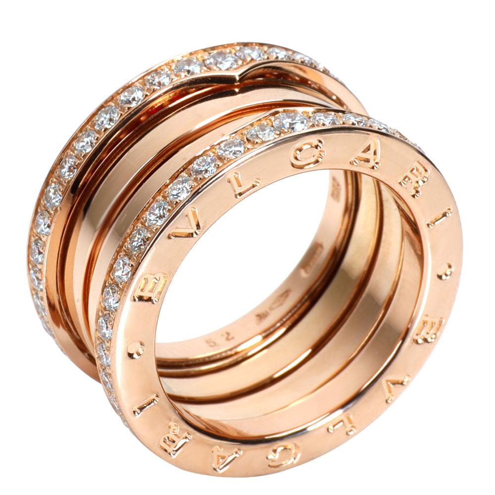 Bvlgari B.zero1 Diamond 18K Rose Gold Ring 52