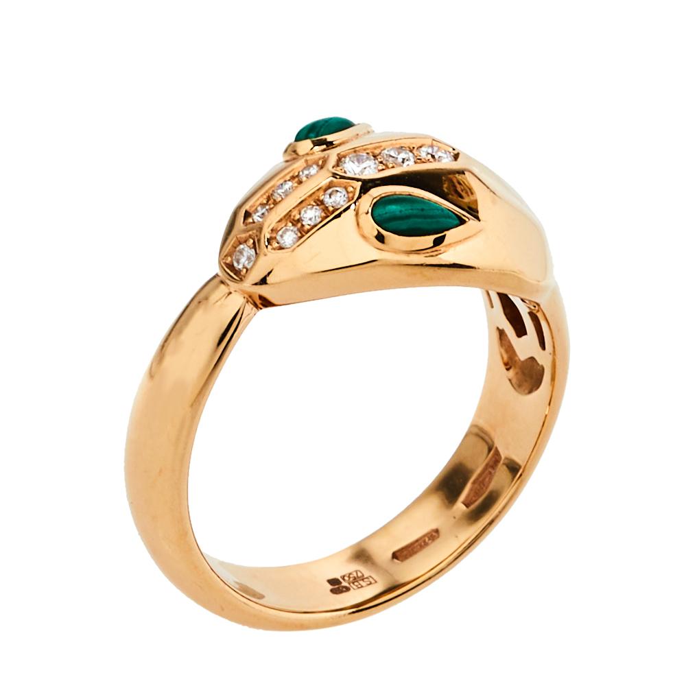 Bvlgari Serpenti Malachite Diamond 18K Rose Gold Ring Size 53