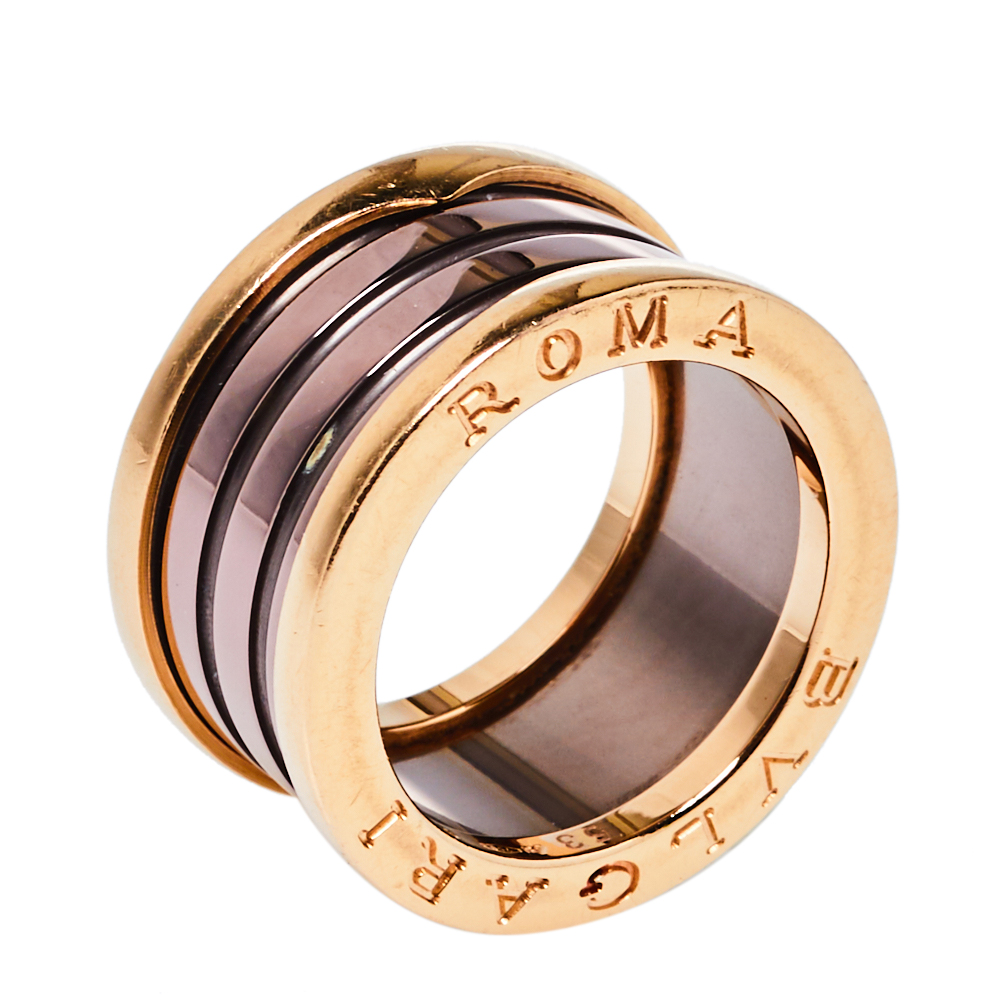 Pre-owned Bvlgari B.zero1 Roma Bronze Ceramic 18k Rose Gold 4-band Ring Size 53