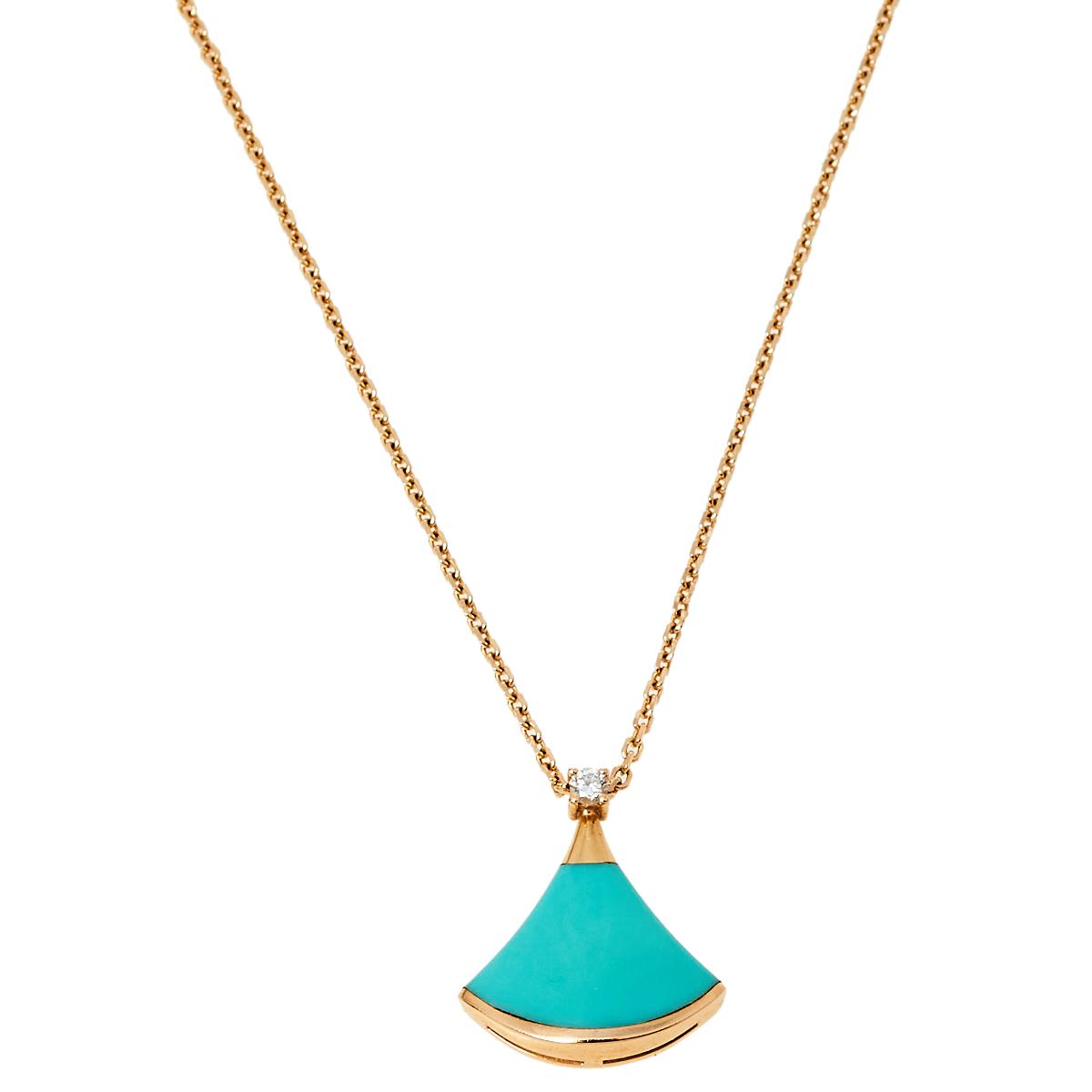 Pre-owned Bvlgari Divas' Dream Turquoise Diamond 18k Rose Gold Pendant Necklace