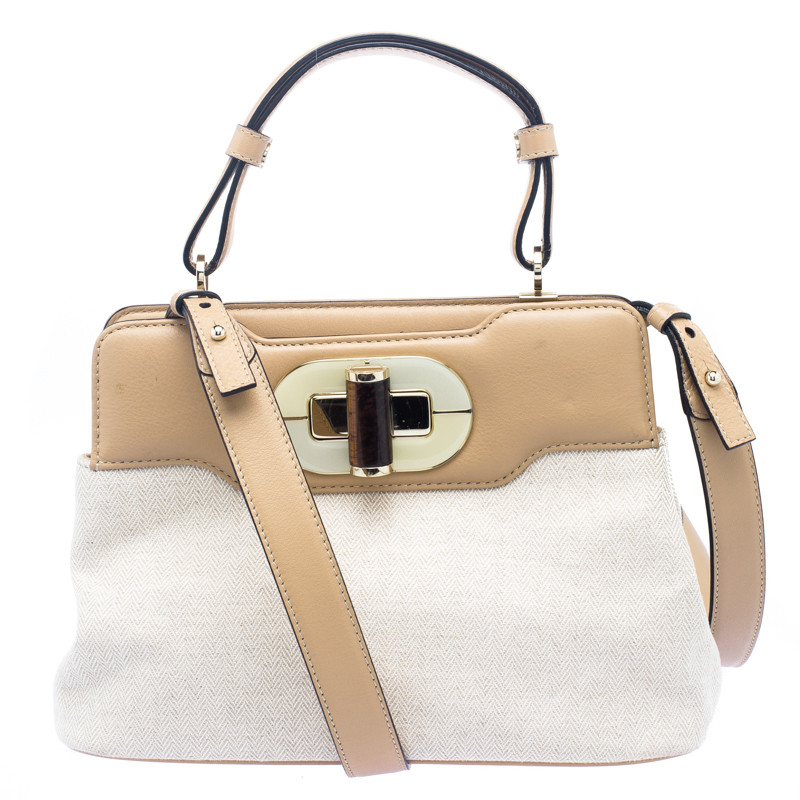 Bvlgari Beige Canvas and Leather Isabella Rossellini Shoulder Bag