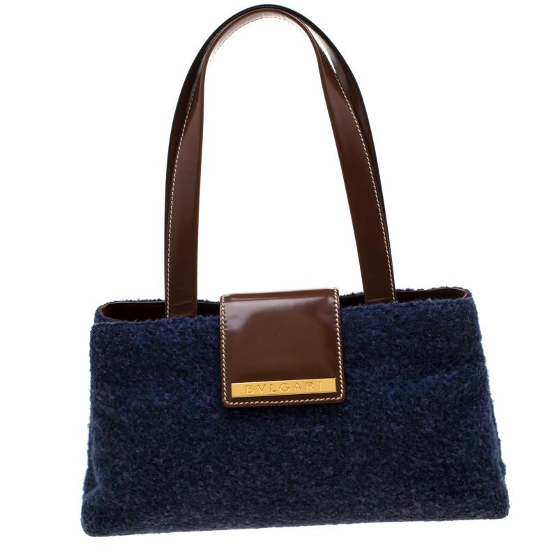 Bvlgari Purple/Dark Brown Wool and Leather Shoulder Bag