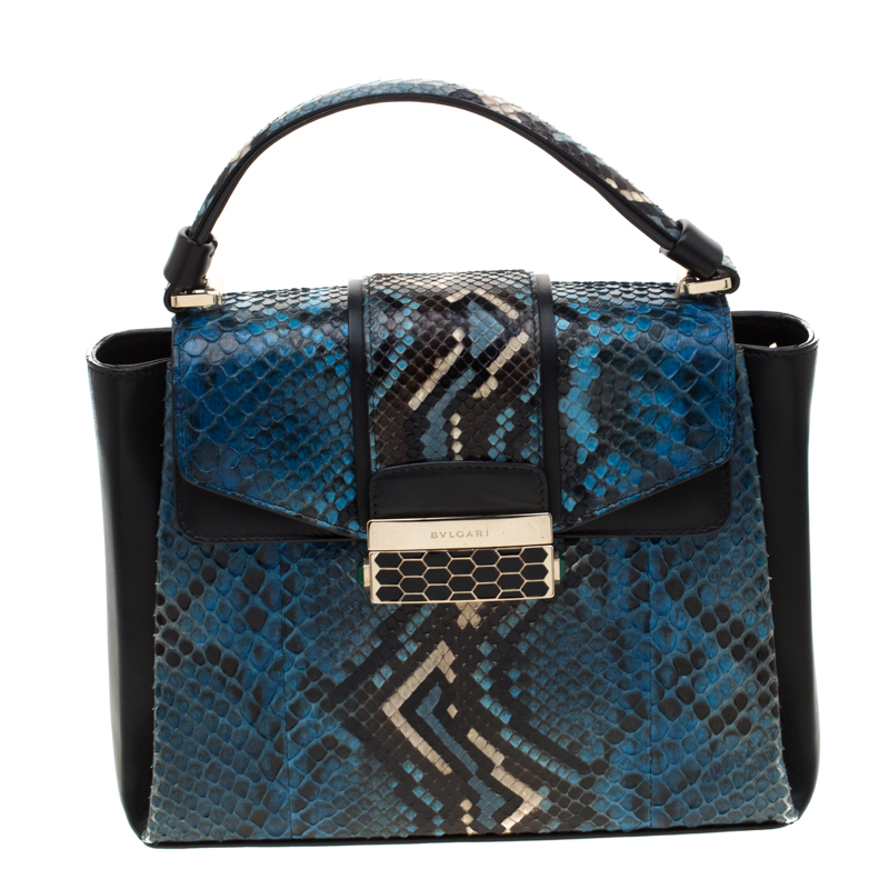 Bvlgari Blue Python Leather Serpenti Viper Top Handle Bag