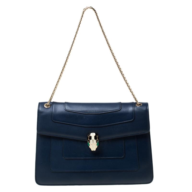 Bvlgari Blue Leather Medium Serpenti Forever Flap Shoulder Bag