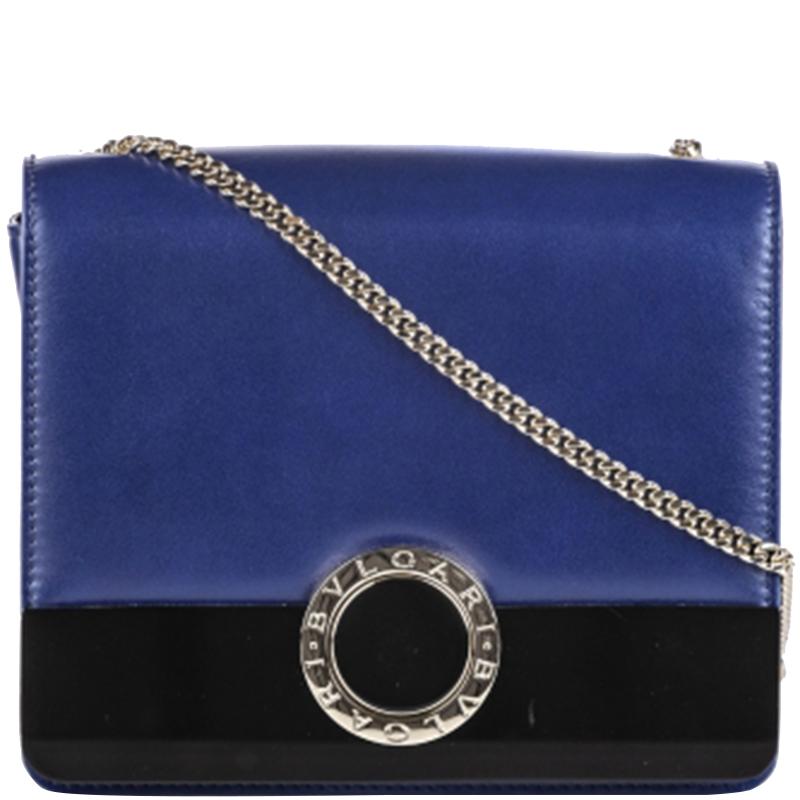 Bvlgari Purple/Black Leather Chain Crossbody Bag