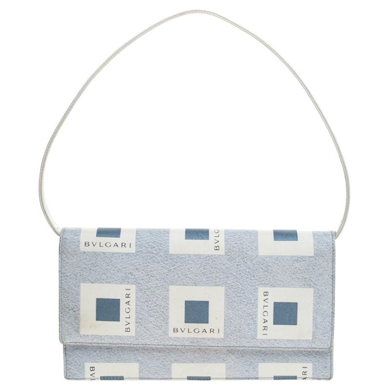 Bvlgari Grey Nylon and Leather Shoulder Bag