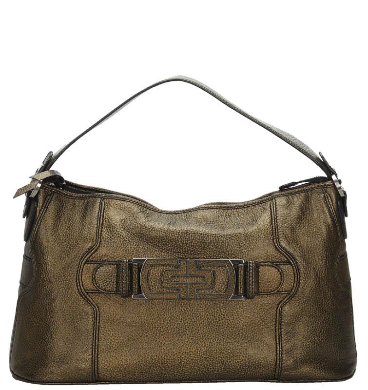 Bvlgari Gold Leather Shoulder Bag