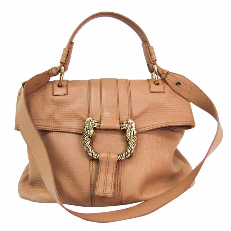 Bvlgari Brown Leather Leoni Top Handle Bag