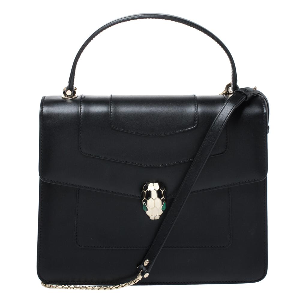 Bvlgari Black Leather Serpenti Forever Flap Bag