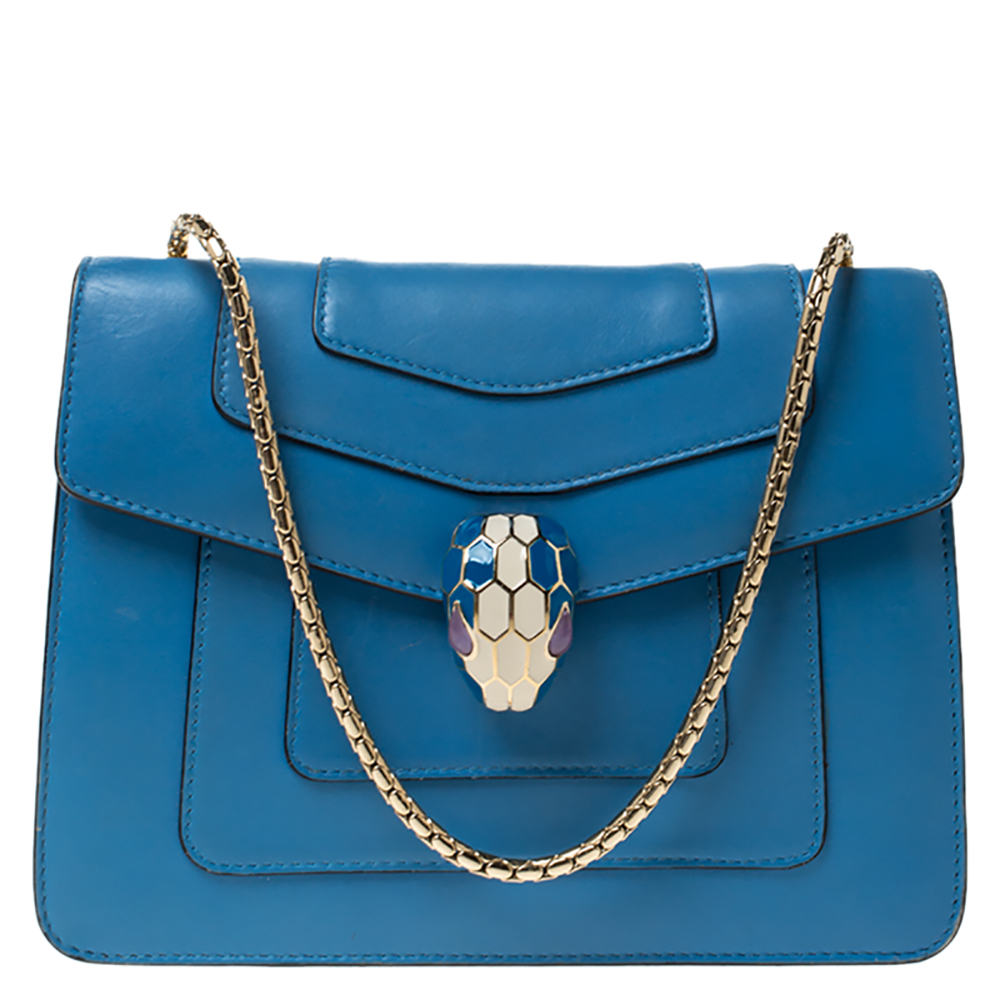 Bvlgari Light Blue Leather Small Serpenti Forever Shoulder Bag