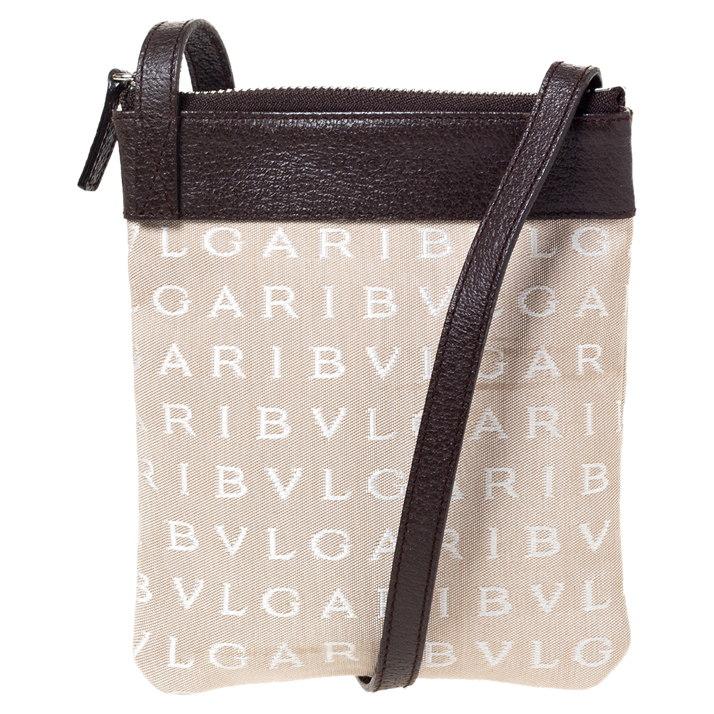 Bvlgari Brown/Beige Mania Canvas and Leather Crossbody Bag