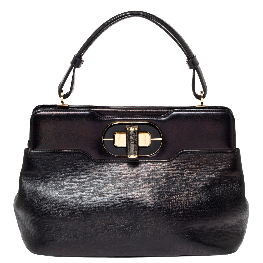 Bvlgari Black Leather Isabella Rossellini Top Handle Bag