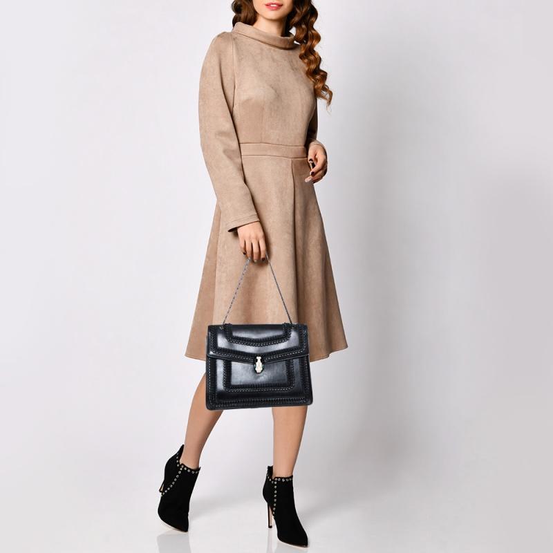 Bvlgari Black Leather Large Plisse Serpenti Forever Shoulder Bag
