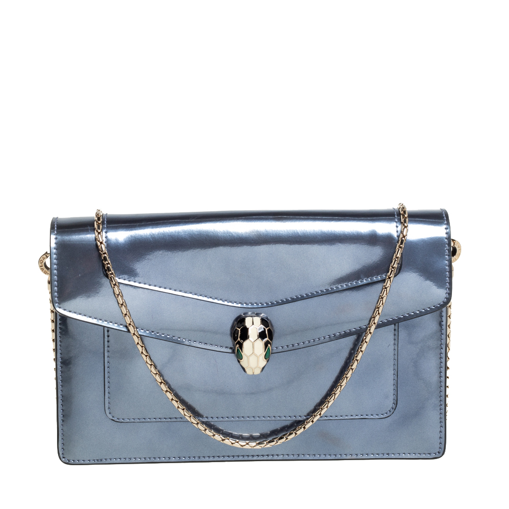Pre-owned Bvlgari Metallic Grey Patent Leather Serpenti Forever Wallet On Chain