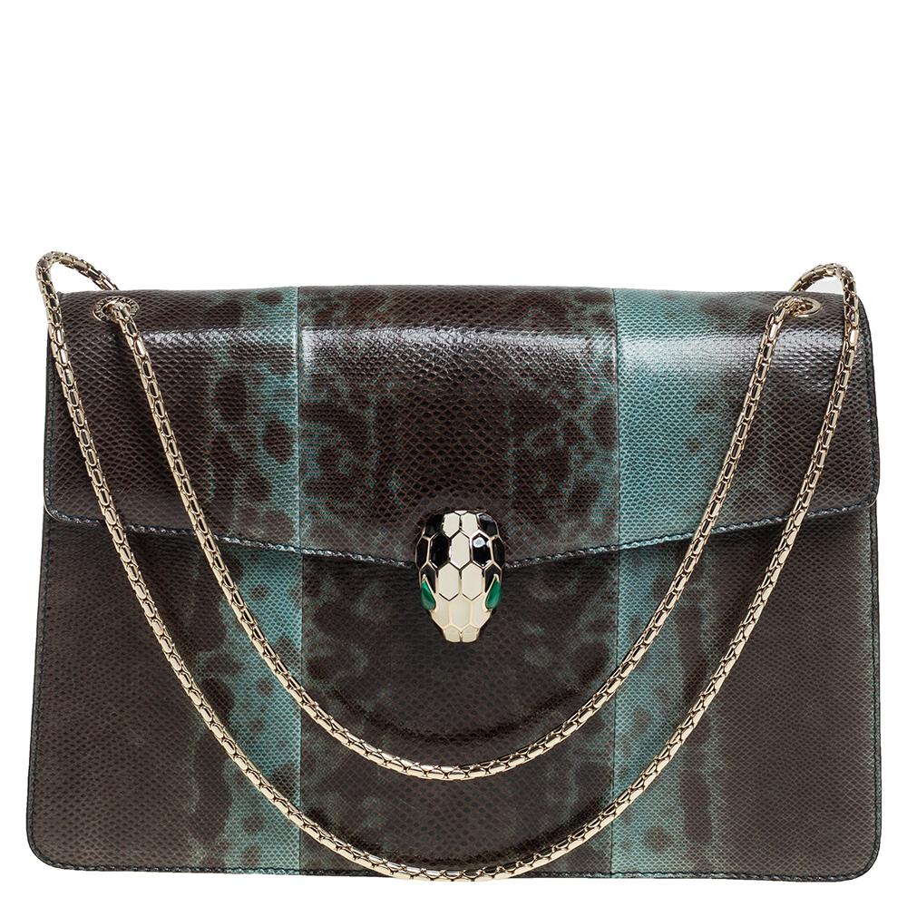Pre-owned Bvlgari Green Karung Medium Serpenti Forever Shoulder Bag