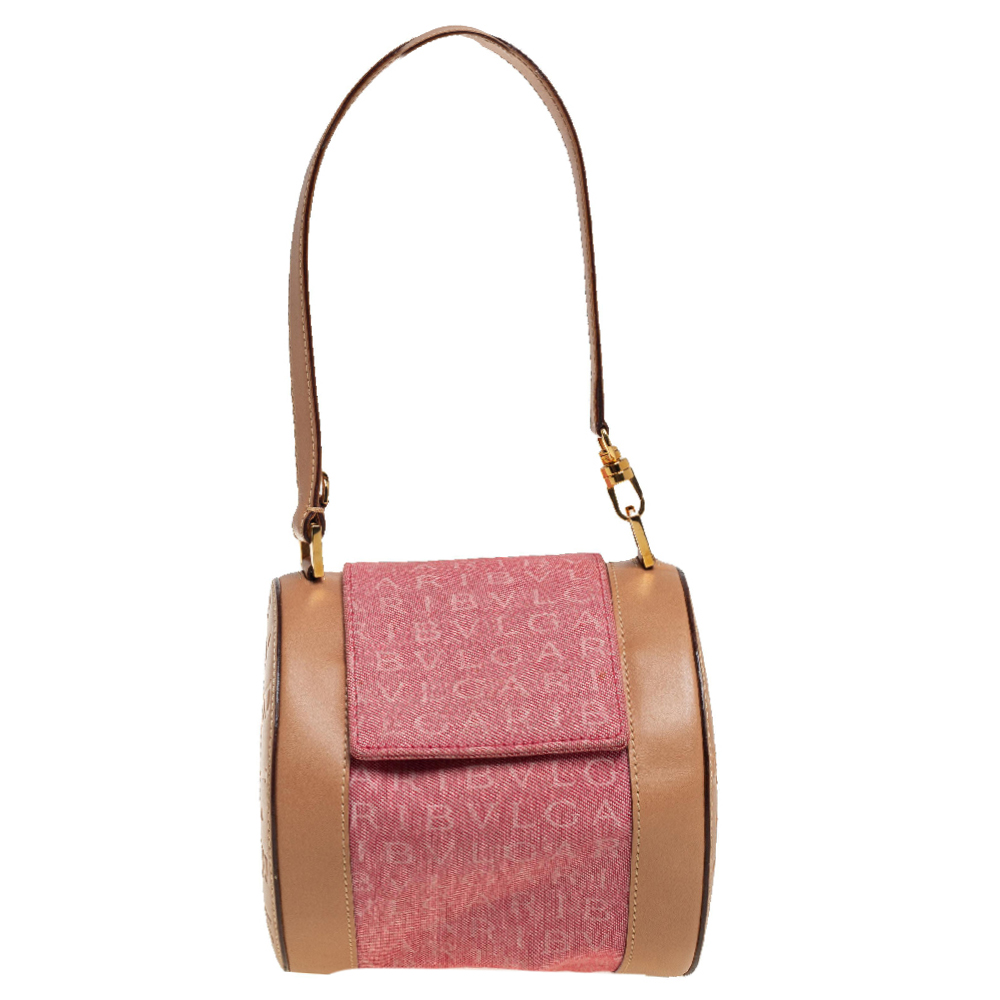 Pre-owned Bvlgari Pink/beige Denim And Leather Cylinder Bag