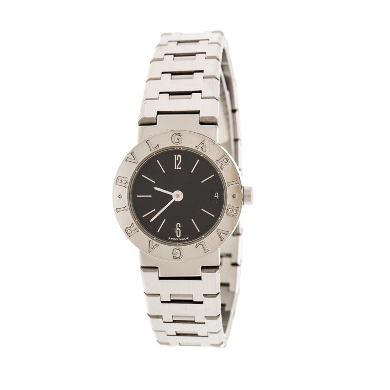 Bvlgari Black Stainless Steel Bvlgari BB23SSD Women's Wristwatch 23 mm