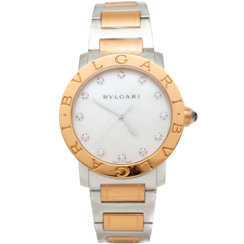 Bvlgari Bvlgari Steel & 18K Rose Gold Diamond Dial Watch 37MM