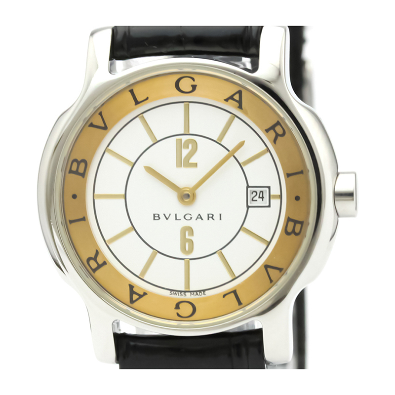 Bvlgari White Stainless Steel and Leather Solotempo ST29S Women's Wristwatch 29MM