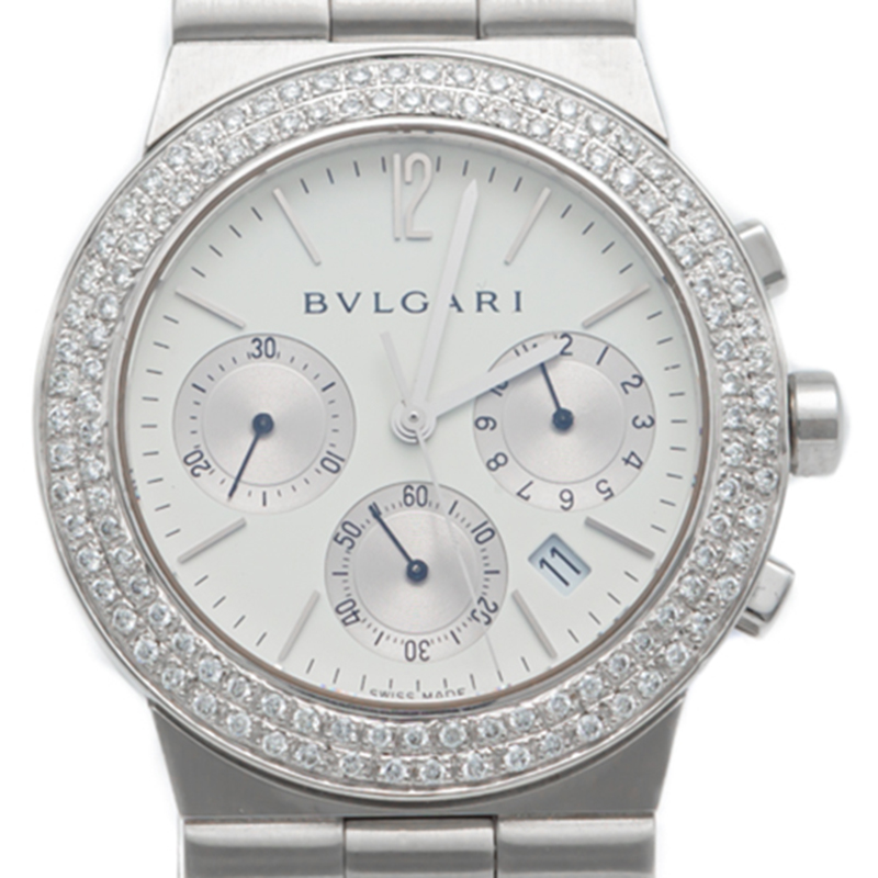 Bvlgari Blanc Diagono en Acier Inoxydable Chronographe Lunette sertie de Diamants Montre 35MM