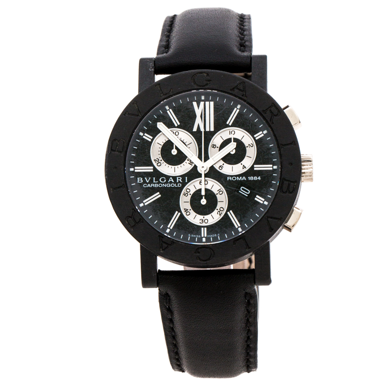 Bvlgari Black Carbongold Roma Chronograph BB38CLCH Limited Edition Women's Wristwatch 38MM