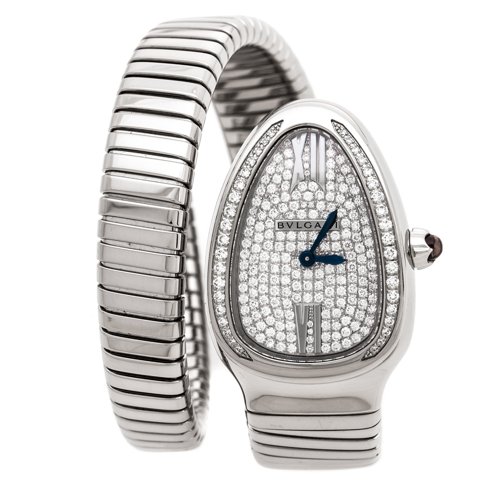 Bvlgari Diamond Pave 18K White Gold Serpenti Tubogas 102005 Women's Wristwatch 35 mm