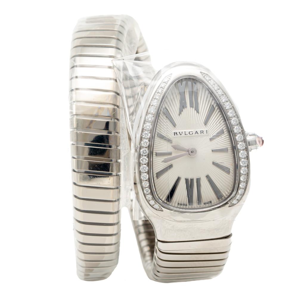 Bvlgari Silver Dial Serpenti Tubogas Steel Diamond Bezel Women's Watch Small Size