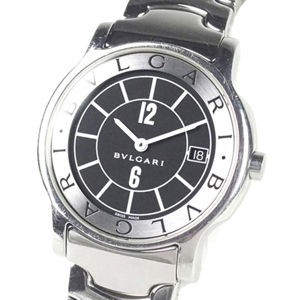 Bvlgari Black Stainless Steel Bvlgari Solotempo Women's Wristwatch 35 MM