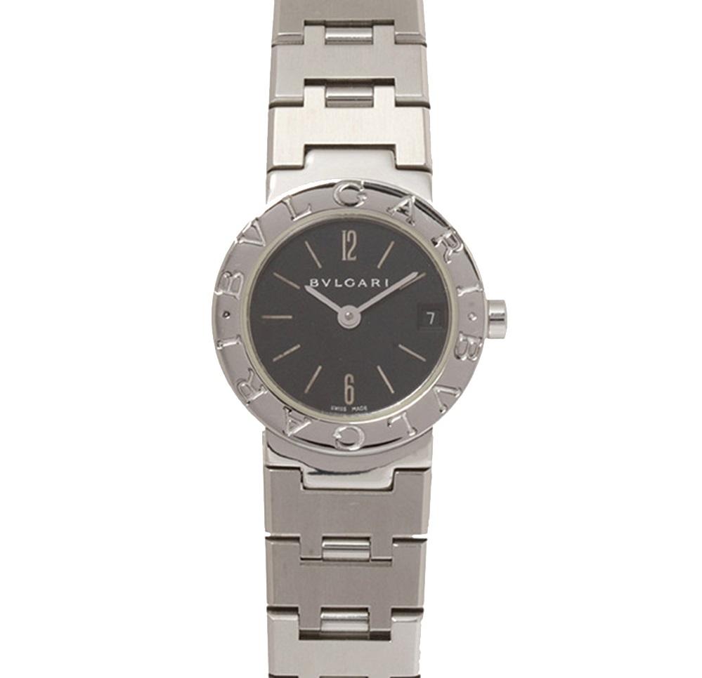 Bvlgari Black Stainless Steel Diagono Bvlgari Quartz Women's Wristwatch 19 MM