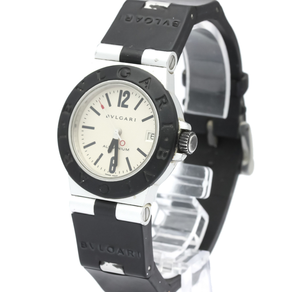 Bvlgari Silver Aluminum Diagono Quartz Al32A Women's Wristwatch 32 MM