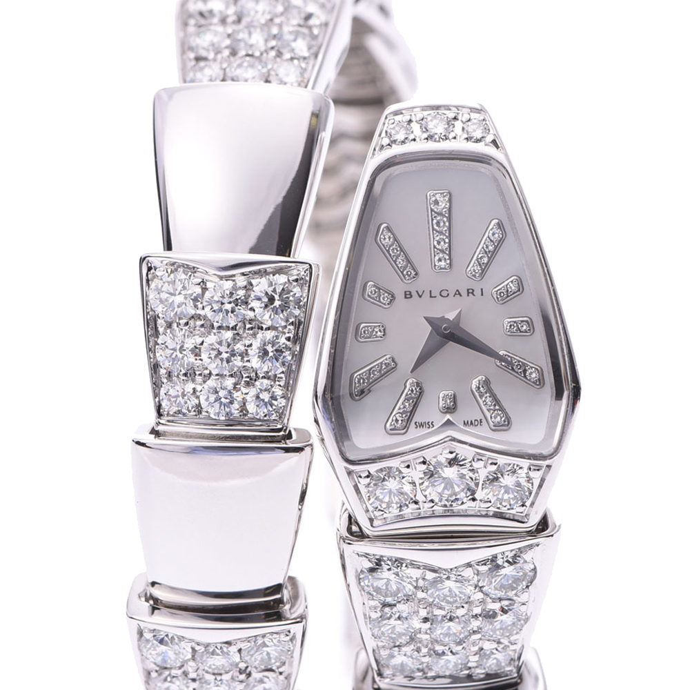 Pre-owned Bvlgari Serpenti Limited Edition Women's Wristwatch 16 Mm In White