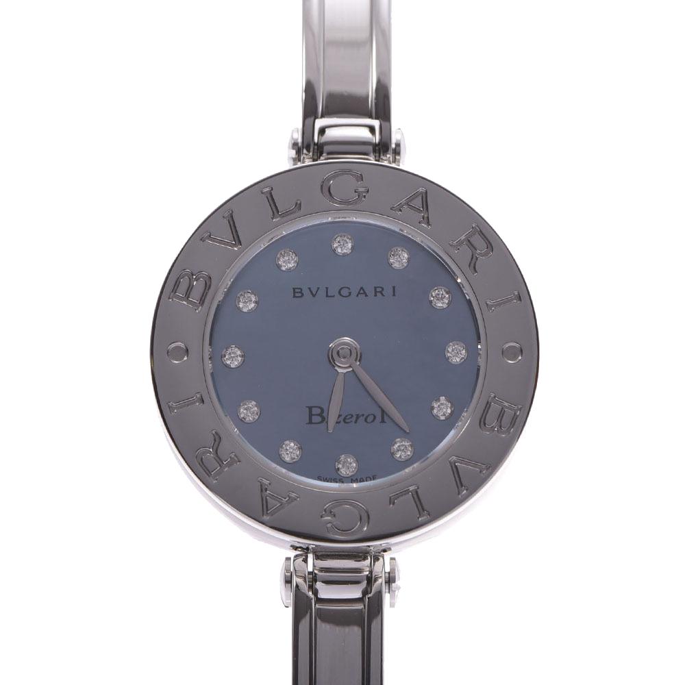 Pre-owned Bvlgari Blue Diamond Stainless Steel B.zero1 Bb22s Quartz Women's Wristwatch 22 Mm