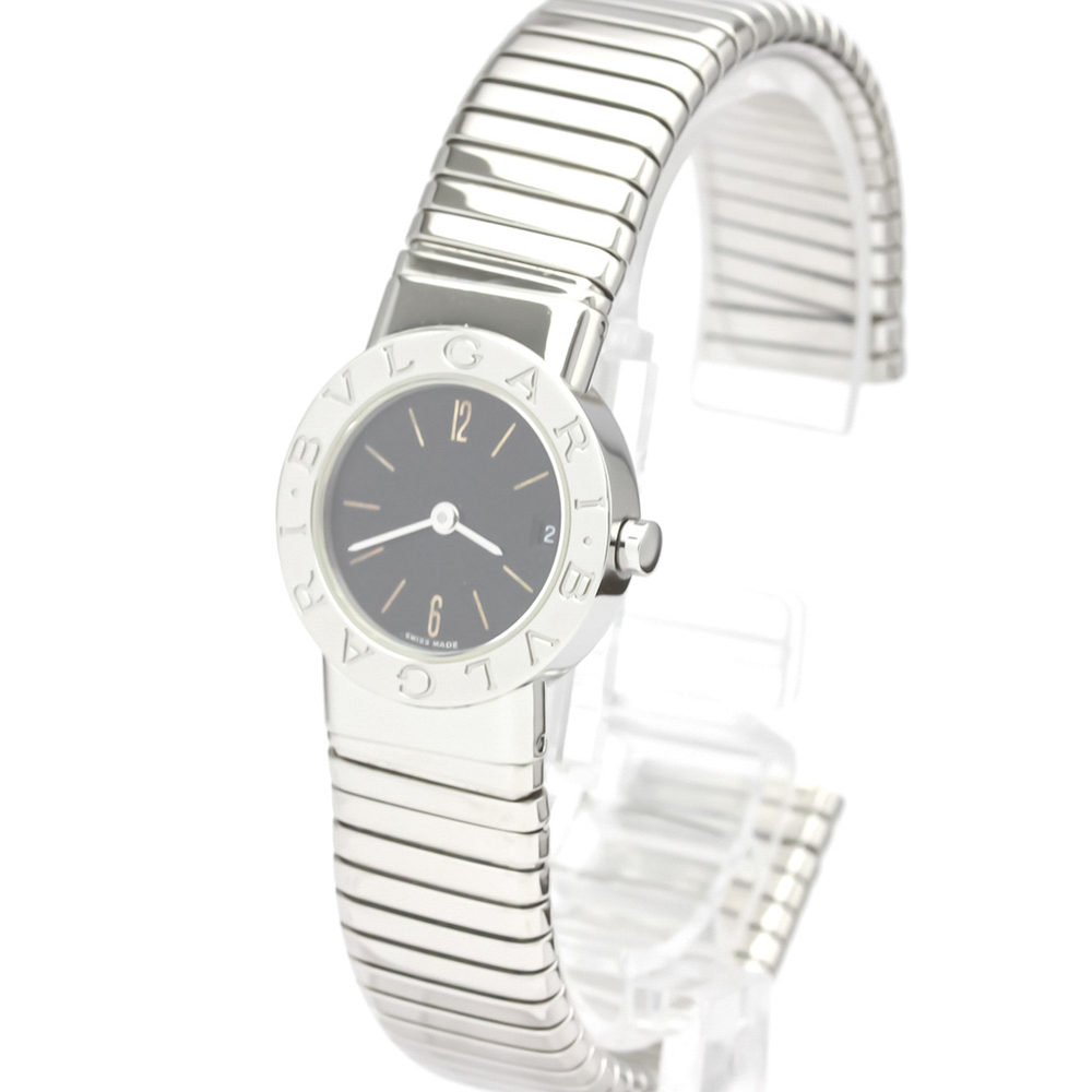 Bvlgari Black Stainless Steel Tubogas BB232TS Quartz Women's Wristwatch 23 MM  - buy with discount