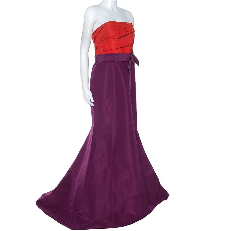 Carolina Herrera Red and Purple Color-block Silk Strapless Gown