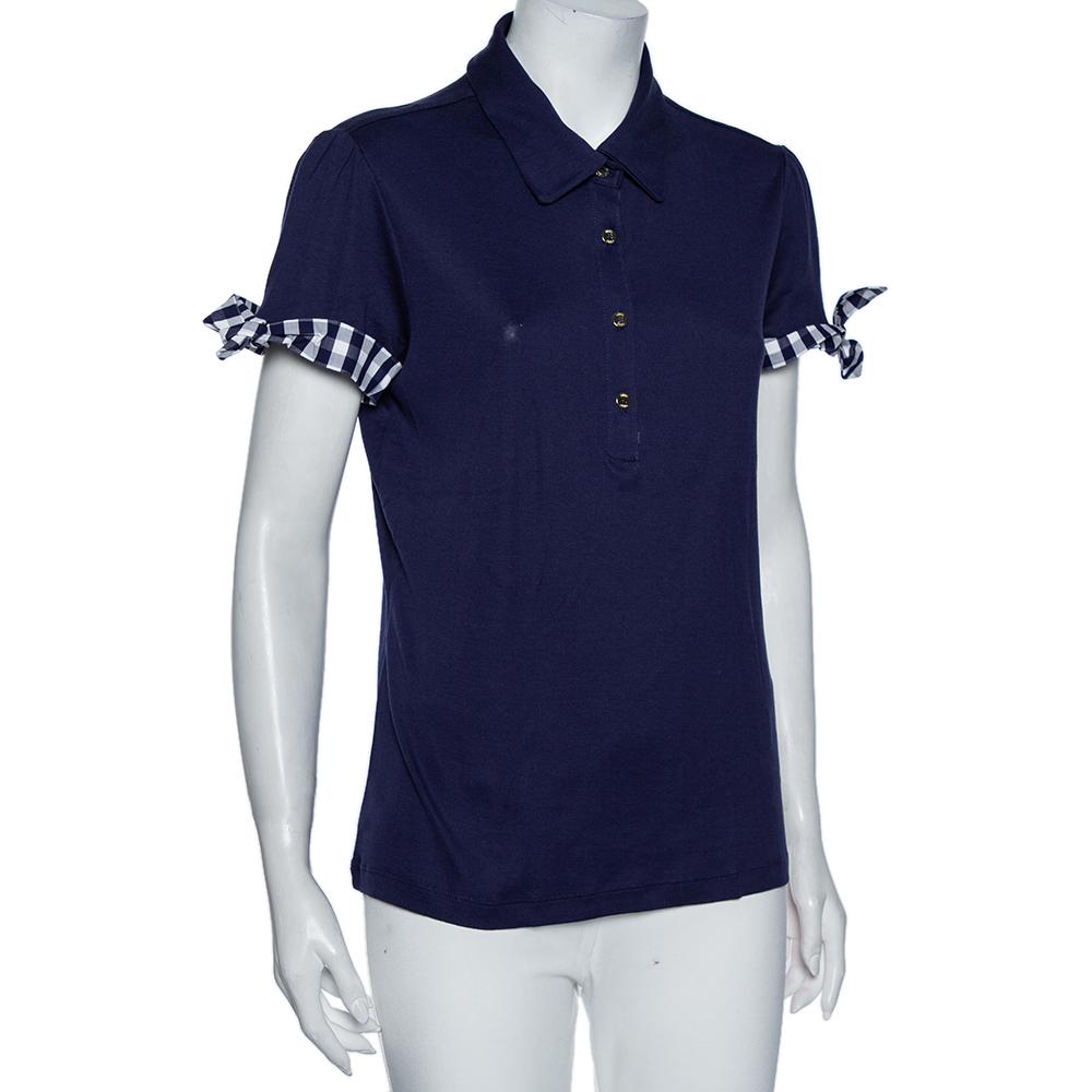Carolina Herrera Indigo Cotton Check Trim Detail Polo T-Shirt L
