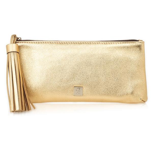 Buy Carolina Herrera Gold Leather Clutch