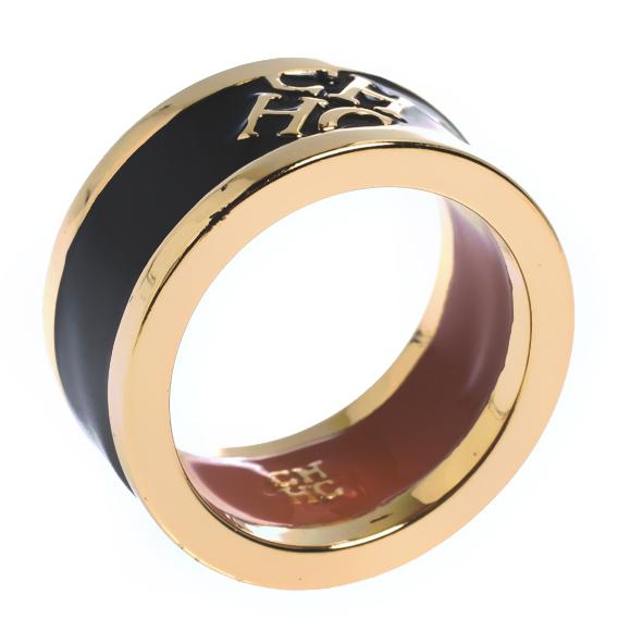 Carolina Herrera CH Black Enamel Gold Tone Band Ring Size 56