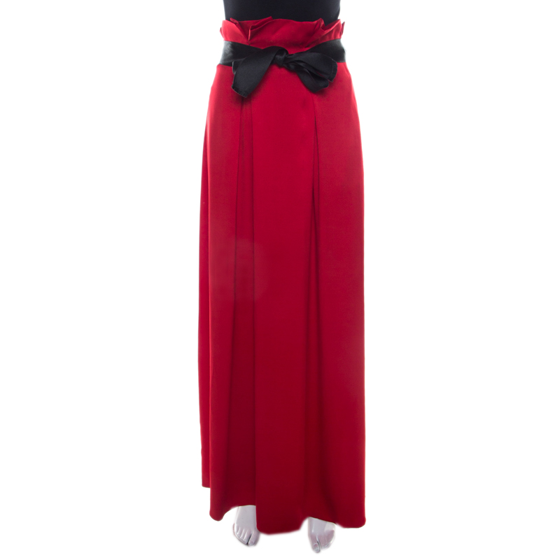 Carolina Herrera Red Silk Satin Contrast Belted Paper Bag Waist Maxi Skirt L