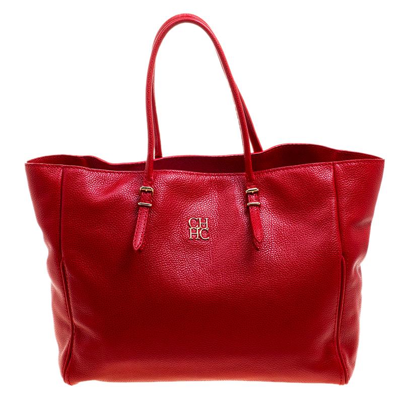 d24f99e7f8 Carolina Herrera Red Monogram Leather Per Tote 120842 At