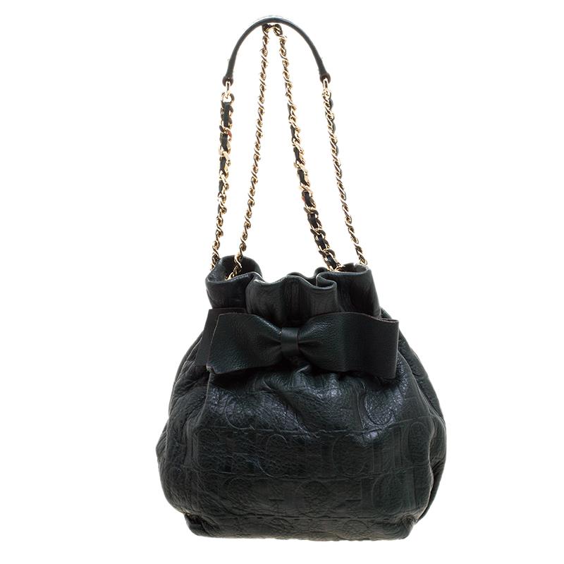 c2988eaee3 ... Carolina Herrera Dark Green Embossed Leather Bow Bucket Shoulder Bag.  nextprev. prevnext
