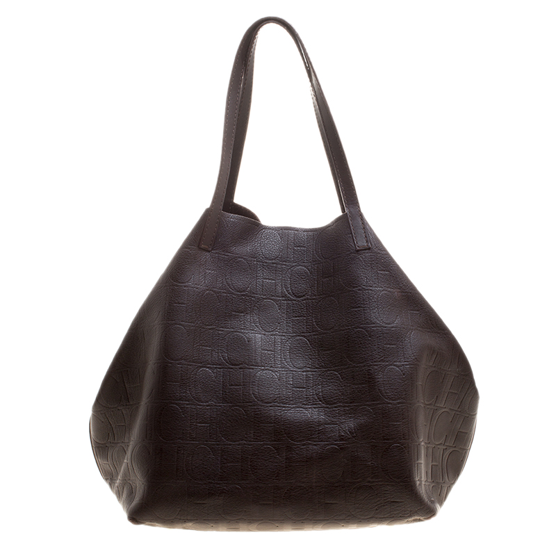 d56fb21443a255 Buy Carolina Herrera Brown Monogram Leather Matryoshka Tote 126400 ...